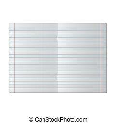 vector, paper., aantekenboekje, school, illustratie