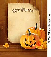 vector, papier, achtergrond, oud, halloween