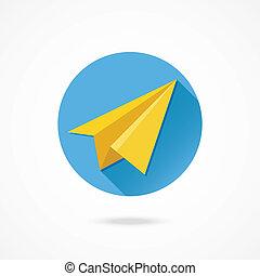 vector, papieren vliegtuig, pictogram