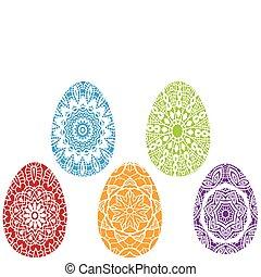 vector, pasen, kleurrijke, eitjes