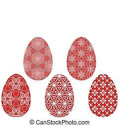 vector, pasen, rood, eitjes