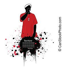 vector, rapper, illustratie