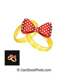 vector, ringen, goud, trouwfeest