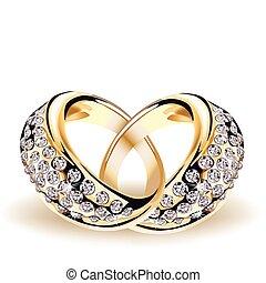 vector, ringen, ruiten, goud, trouwfeest