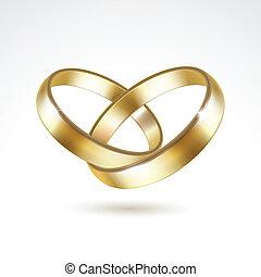 vector, ringen, vrijstaand, goud, trouwfeest