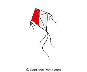 vector, rood, illustratie, witte , vlieger, achtergrond