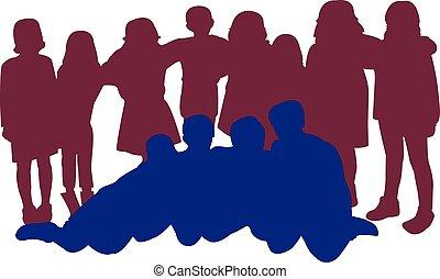 vector, samen, silhouette, kinderen