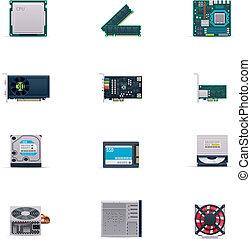 vector, set, computerdelen, pictogram