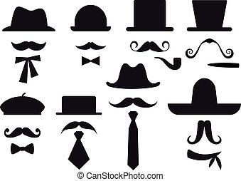 vector, set, hoedjes, mustache