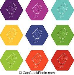 vector, set, iconen, zak, zaden, bloem, negen
