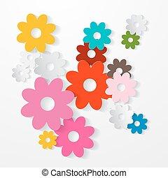 vector, set, kleurrijke, snijden document, bloemen