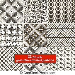 vector, set:, negen, geometrisch, patterns., seamless