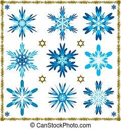 vector, set, negen, snowflakes, vrijstaand