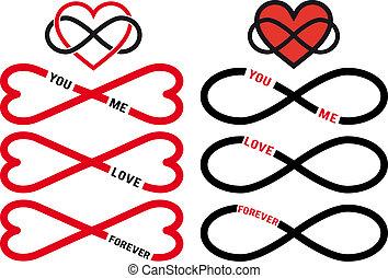 vector, set, oneindigheid, rood, hartjes