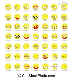 vector, set, spotprent, emoties