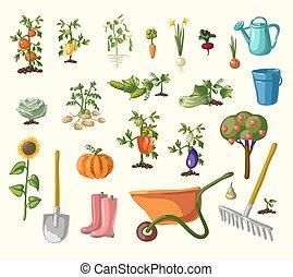 vector, set, tuinieren