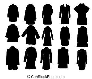 vector, silhouette, eps10, illustratie, jassen