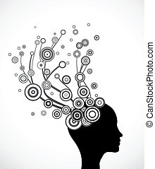 vector, silhouette, hair., abstract gezicht, vrouw
