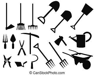 vector, silhouette, het tuinieren hulpmiddelen, set