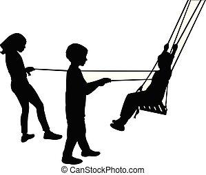 vector, silhouette, kinderen, het slingeren