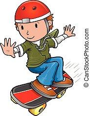 vector, skateboarder, illustratie