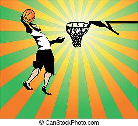 vector, spel, basketbal, win., sportsman