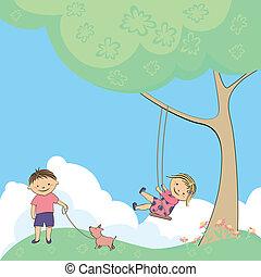 vector, spelende kinderen, natuur