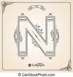 vector, symbols., brief, certificaat, glyph., frame, symbool., verzameling, calligraphic, geschreven, communie, ontwerp, retro, fotn, uitnodiging, n, veer, hand, decor., grens