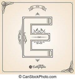 vector, symbols., e, brief, certificaat, glyph., frame, symbool., verzameling, calligraphic, geschreven, communie, ontwerp, retro, fotn, uitnodiging, veer, hand, decor., grens