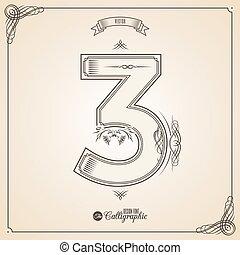 vector, symbols., grens, certificaat, geschreven, glyph., frame, getal, verzameling, calligraphic, 3, communie, ontwerp, retro, fotn, uitnodiging, veer, hand, decor., symbool.