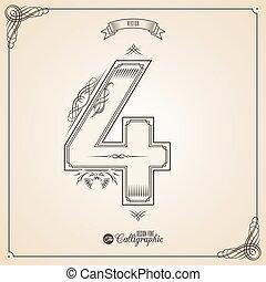 vector, symbols., grens, certificaat, glyph., frame, getal, verzameling, calligraphic, geschreven, communie, ontwerp, retro, fotn, uitnodiging, veer, hand, decor., symbool., 4