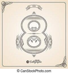 vector, symbols., grens, certificaat, glyph., frame, getal, verzameling, calligraphic, geschreven, communie, ontwerp, retro, fotn, uitnodiging, 8, veer, hand, decor., symbool.