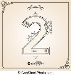 vector, symbols., grens, certificaat, glyph., frame, getal, verzameling, calligraphic, geschreven, communie, ontwerp, retro, fotn, uitnodiging, 2, veer, hand, decor., symbool.