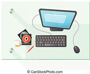 vector, tafel, computer, moderne, illustratie