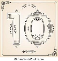 vector, tien, symbols., grens, certificaat, glyph., frame, getal, verzameling, calligraphic, geschreven, communie, ontwerp, retro, fotn, uitnodiging, veer, hand, decor., symbool.