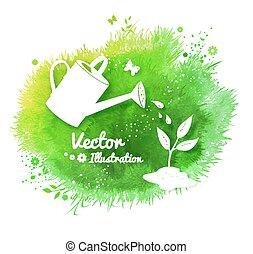 vector, tuinieren, achtergrond