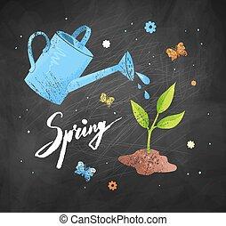 vector, tuinieren, illustratie