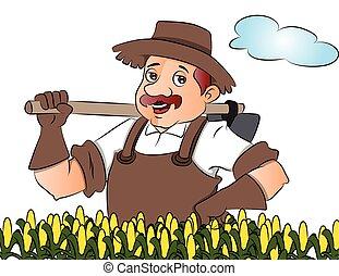 vector, tuinman, shovel.