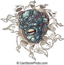 vector, uit, robot, het scheuren, schedel