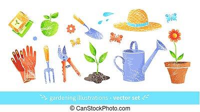 vector, uitrusting, set, tuinieren