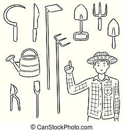 vector, uitrusting, set, tuinieren, tuinman