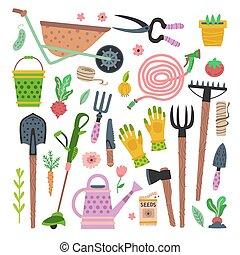 vector, uitrustingen tuinierend, gereedschap, set., tuin, plat