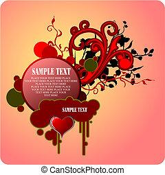 vector, valentine`s, groet, dag, card., illustratie
