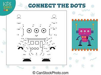 vector, verbinden, punten, mini, spel, geitjes, illustratie