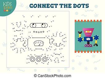 vector, verbinden, punten, spel, geitjes, illustratie