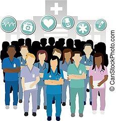 vector, verpleegkundige, serieuze , groep, concept