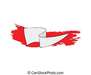 vector, vlag, rood, plat, illustratie, witte , borstel, achtergrond