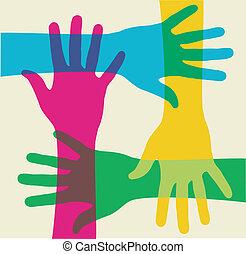 veelkleurig, teamwork, handen