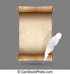 veer, papier, oud, boekrol