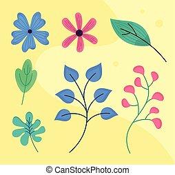 vellen, bloemen, lente, bundel, zeven
